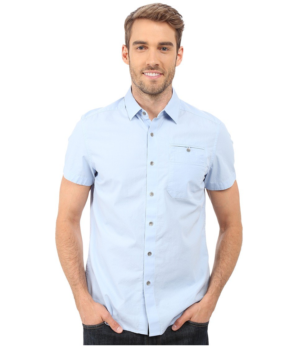 Kenneth Cole Sportswear Short Sleeve Button Down Ripstop Haze Mens Short Sleeve Button Up