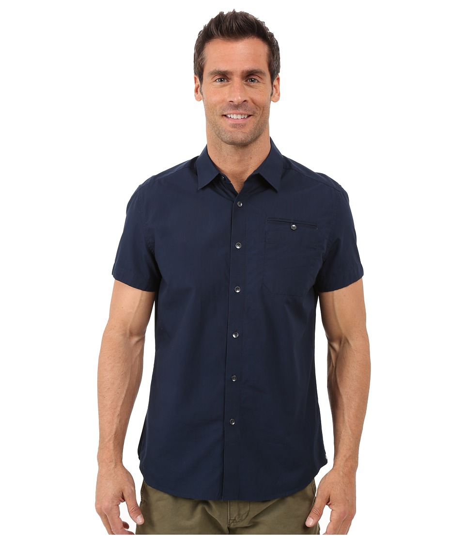 Kenneth Cole Sportswear Short Sleeve Button Down Ripstop Indigo Mens Short Sleeve Button Up