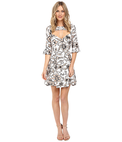 For Love and Lemons Ayla Lace-Up Dress - White Floral