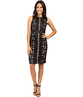 Adrianna Papell - Fully Lined Striped Lace and Floral Sheath Dress with Jeweled Neckline