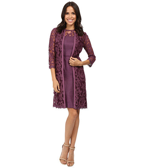 Adrianna Papell Lace Yoke Shimmer Sheath & Jacket