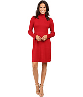 Adrianna Papell - Turtleneck Long Sleeve Solid Pleat Dress