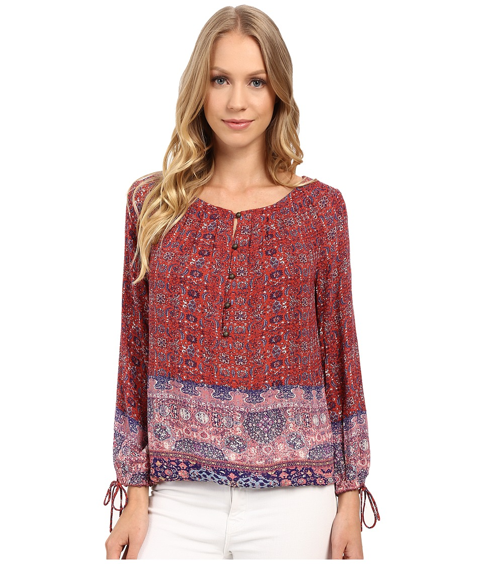 Lucky Brand - Tapestry Print 3/4 Sleeve Top (Red Multi) Women