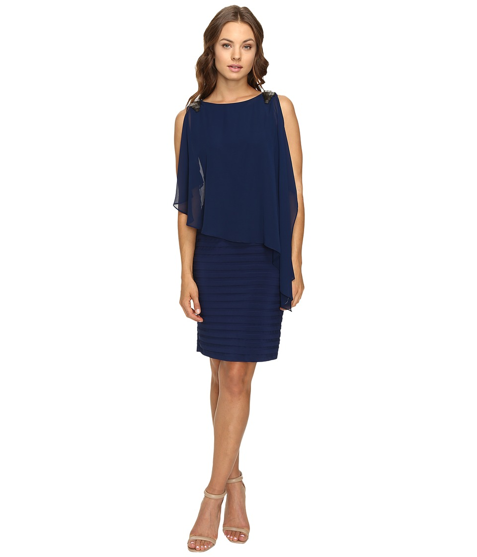 Adrianna Papell Banded Dress w/ Chiffon Capelet and Beading (Lyric Navy) Women