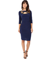 Adrianna Papell - Embellished Neckline 3/4 Sleeve Rouched Dress