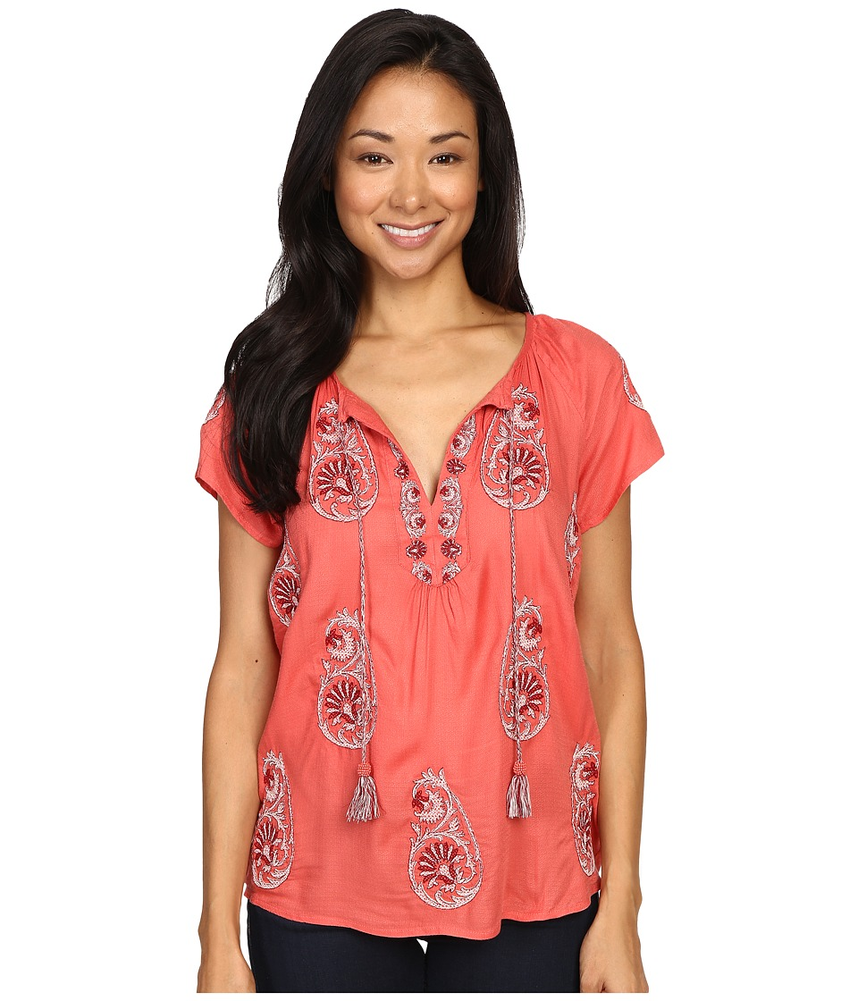 Lucky Brand - Embroidered Short Sleeve Top (Spiced Coral) Women