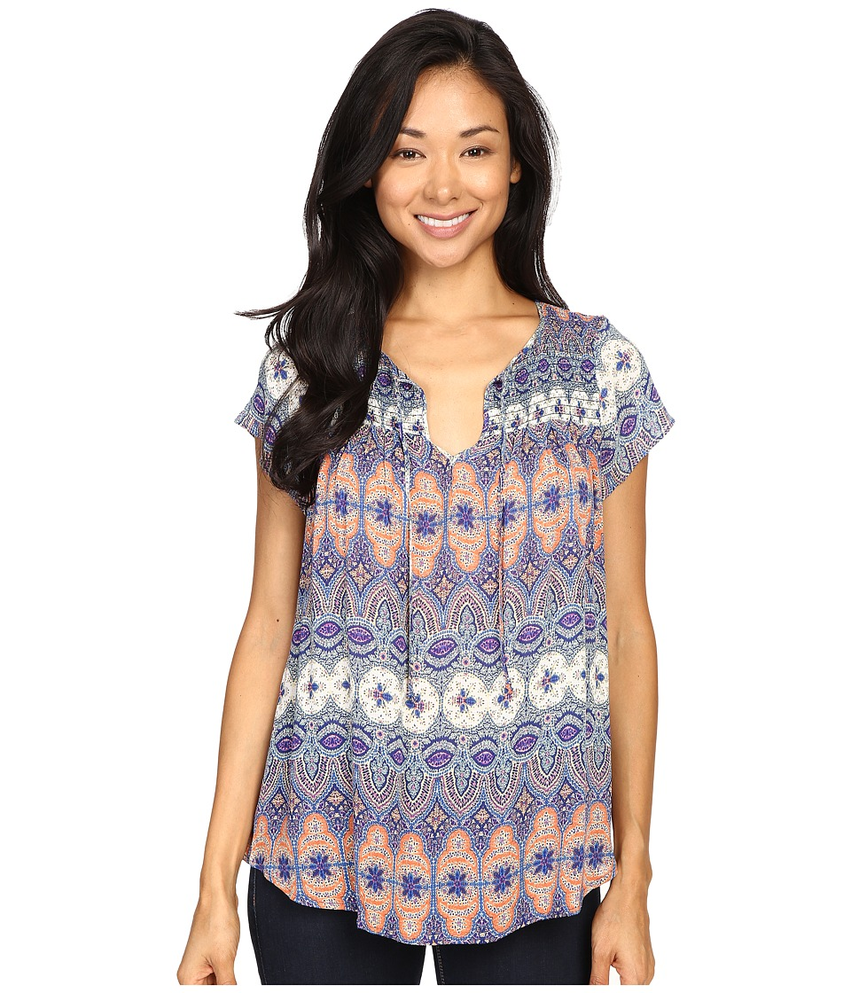 Lucky Brand - Printed Smocked Short Sleeve Top (Multi) Women