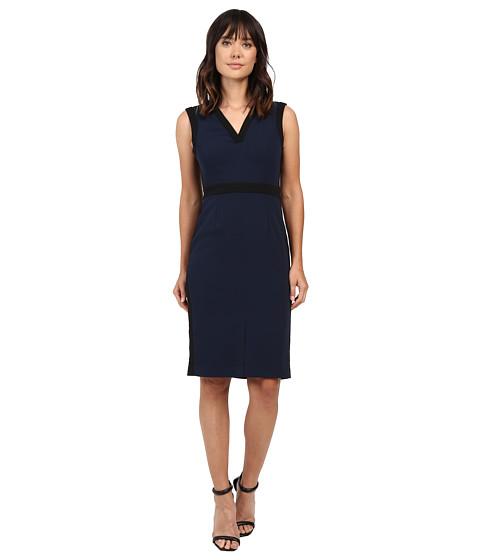 Adrianna Papell Color Contrast Stretch Crepe V-Neck Sheath Dress