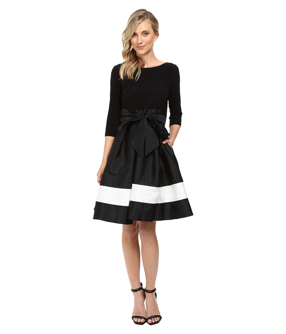 Adrianna Papell - Color Blocked Taffeta Flared Skirt Dress BlackIvory Womens Dress $160.00 AT vintagedancer.com