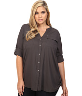 Calvin Klein Plus - Plus Size Crew Neck Roll Sleeve Top
