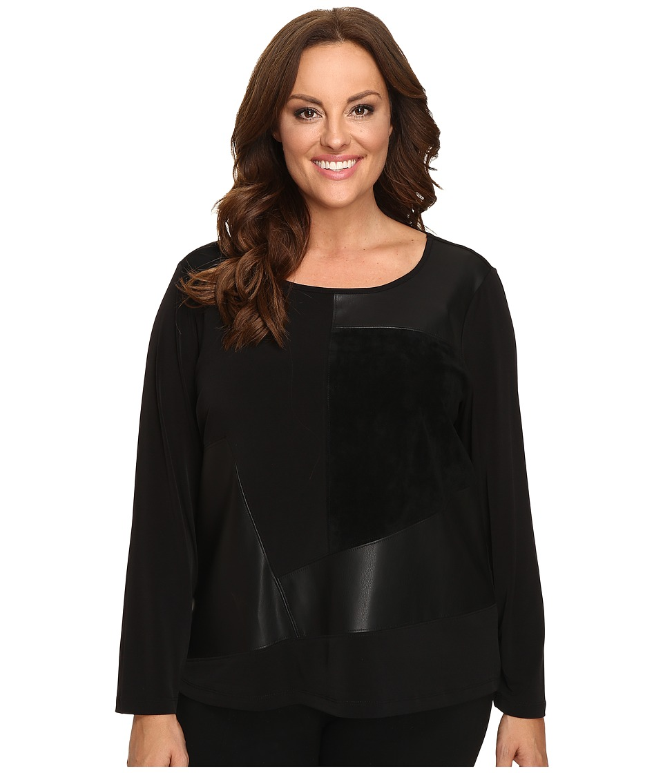 Calvin Klein Plus - Plus Size Long Sleeve Top w/ Faux Leather and Suede Mix (Black) Womens Long Sleeve Pullover