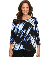 Calvin Klein Plus - Plus Size Printed 3/4 Sleeve w/ Faux Leather Trim