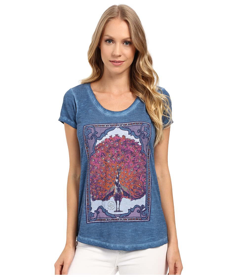 Lucky Brand - Mega Peacock Tee (Blue Ashes) Women