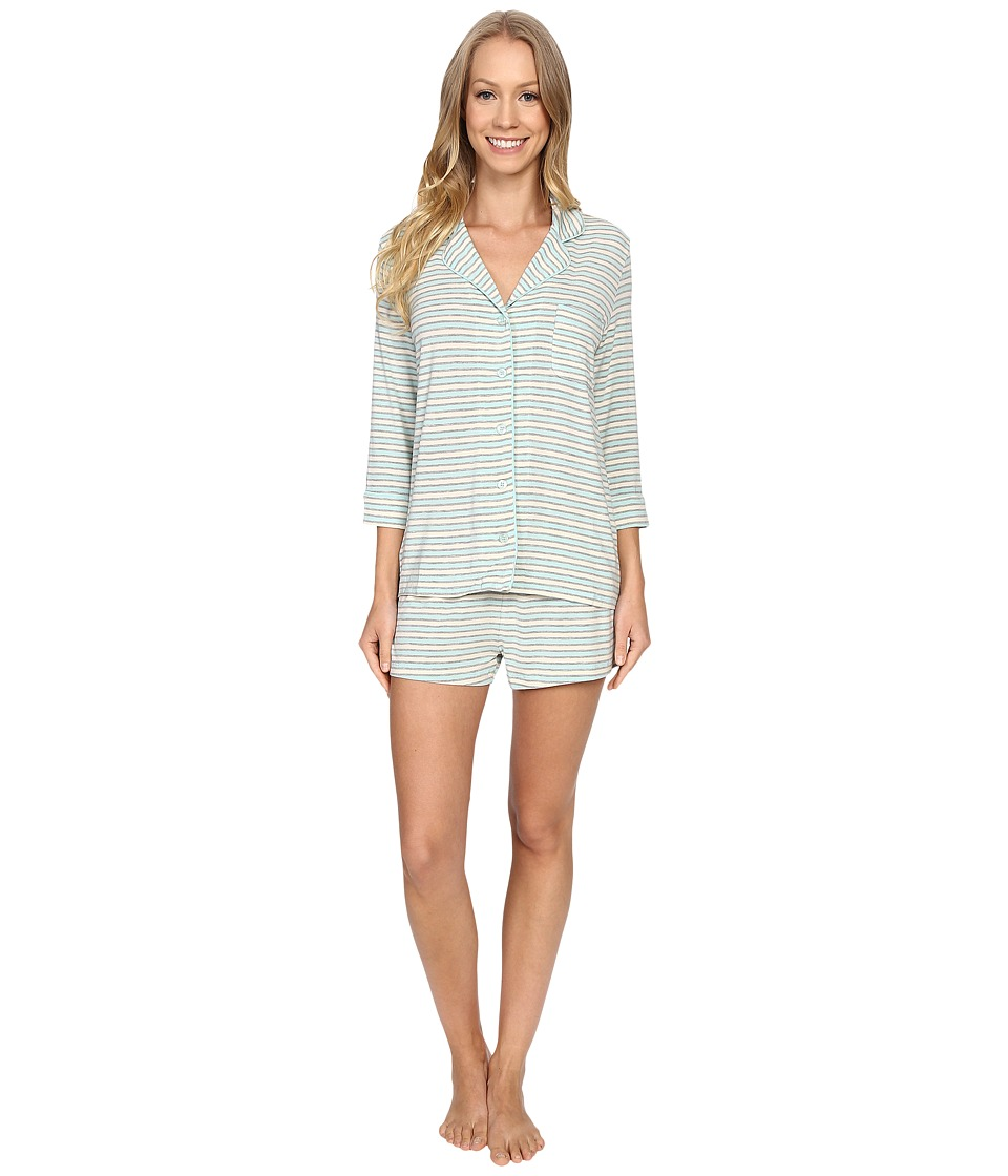 P.J. Salvage Blue Stripe PJ Short Set Blue Womens Pajama Sets