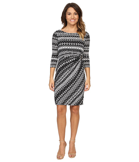 Tahari by ASL Petite Petite Textured Jersey Side Rouch Dress