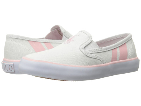 Polo Ralph Lauren Kids Piper (Little Kid) - White Canvas/Light Pink Pony Player/Light Pink