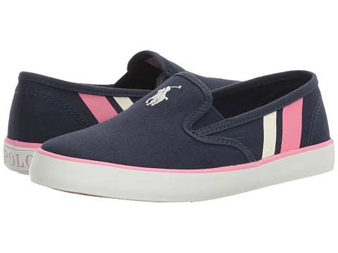 Polo Ralph Lauren Kids Piper (Little Kid) - Navy Canvas/White Pony Player/Light Pink