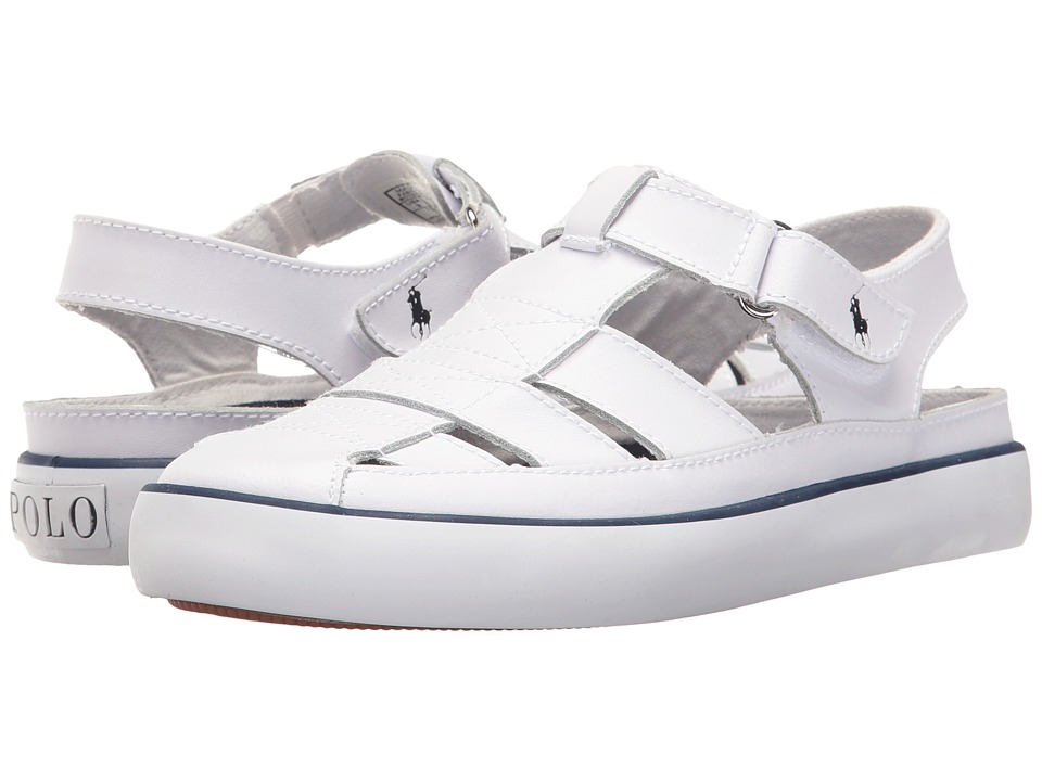 Polo Ralph Lauren Kids - Sander Fisherman (Little Kid) (White Leather) Kids Shoes