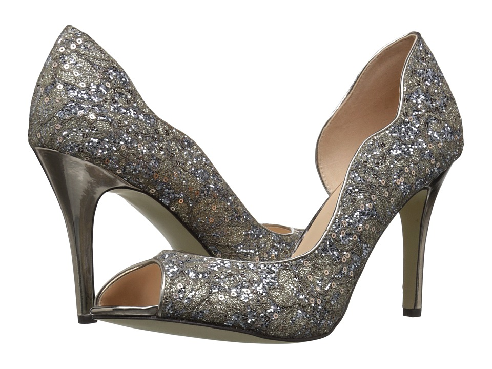 Paradox London Pink Eve Glitter Lace Champagne High Heels