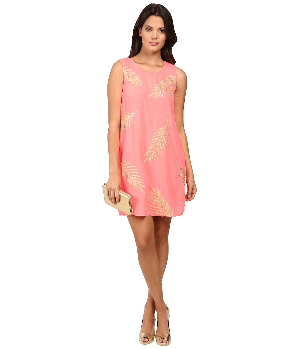 Lilly Pulitzer Elaine Shift Dress (Guava Melon Gold Palm Embroidery) Women