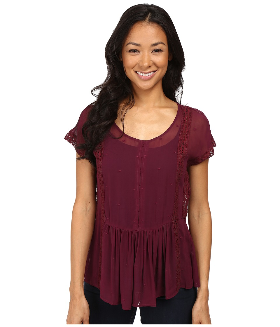 Lucky Brand - Lace Peplum Top (Burgundy) Women
