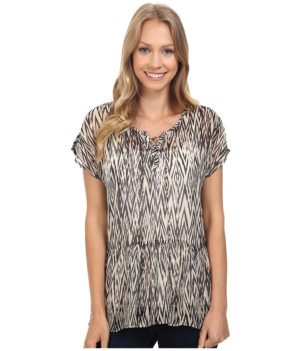 Lucky Brand - Ikat Peplum Top (Black Multi) Women