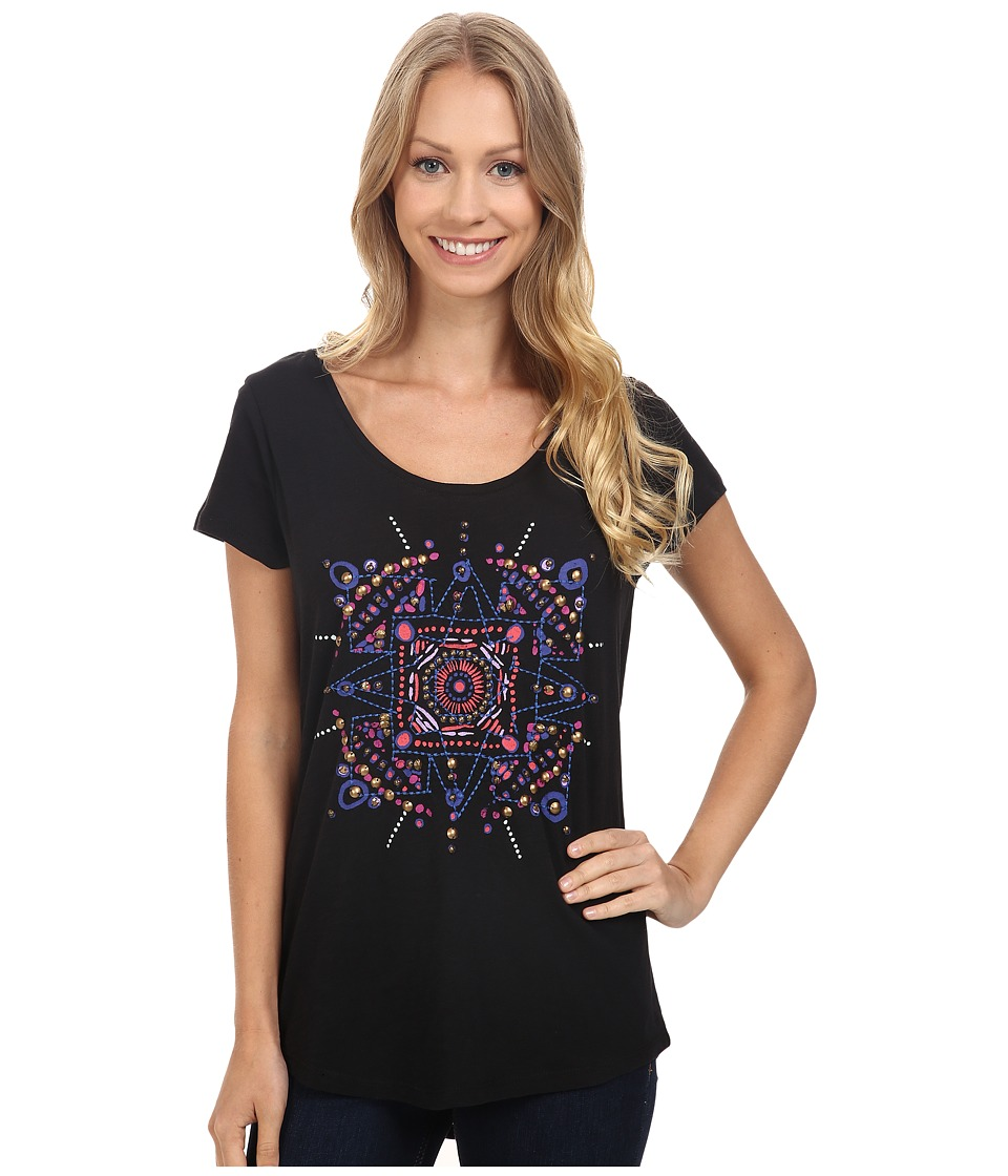 Lucky Brand - Mandala Dots Tee (Black Mountain) Women