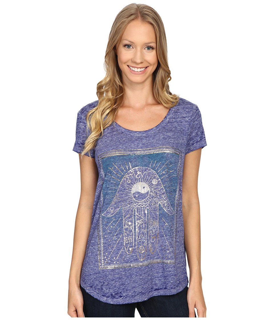 Lucky Brand - Moroccan Card Tee (Clematis Blue) Women
