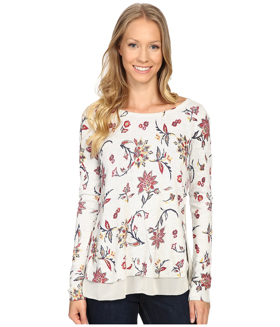 Lucky Brand - Floral Printed Pullover Sweater (Grey Multi) Women