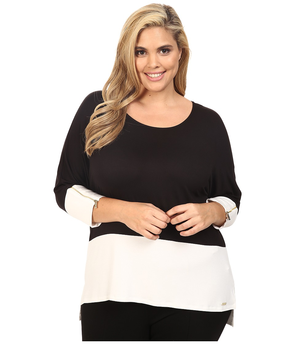 Calvin Klein Plus - Plus Size 3/4 Sleeve Dolman Top (Black) Womens Long Sleeve Pullover