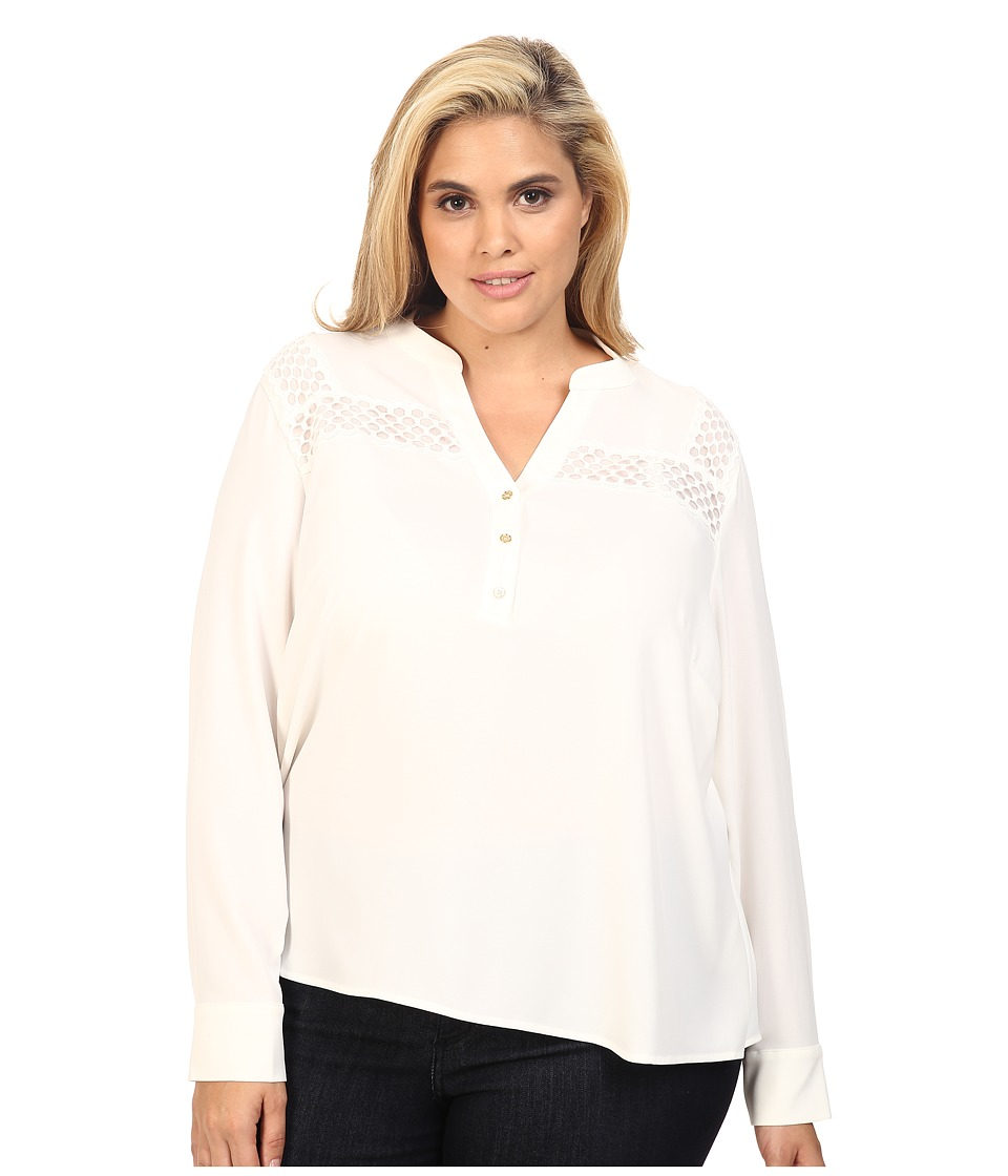 Calvin Klein Plus - Plus Size Long Sleeve Top w/ Lace at Yoke (Soft White) Women