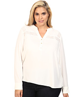 Calvin Klein Plus - Plus Size Long Sleeve Top w/ Lace at Yoke