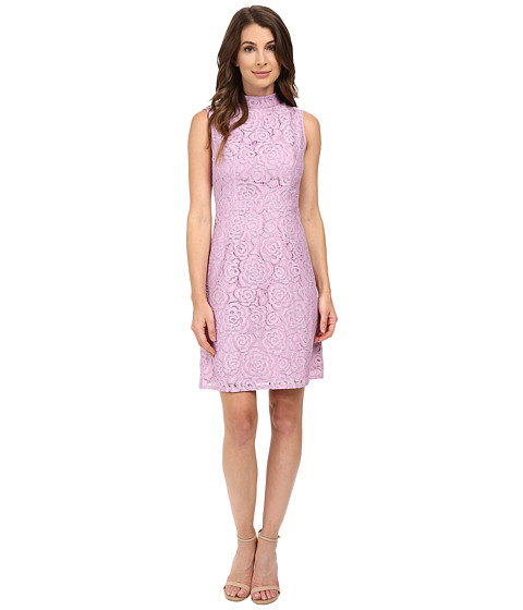 Adrianna Papell A-Line Mock Neck Juliet Lace Dress