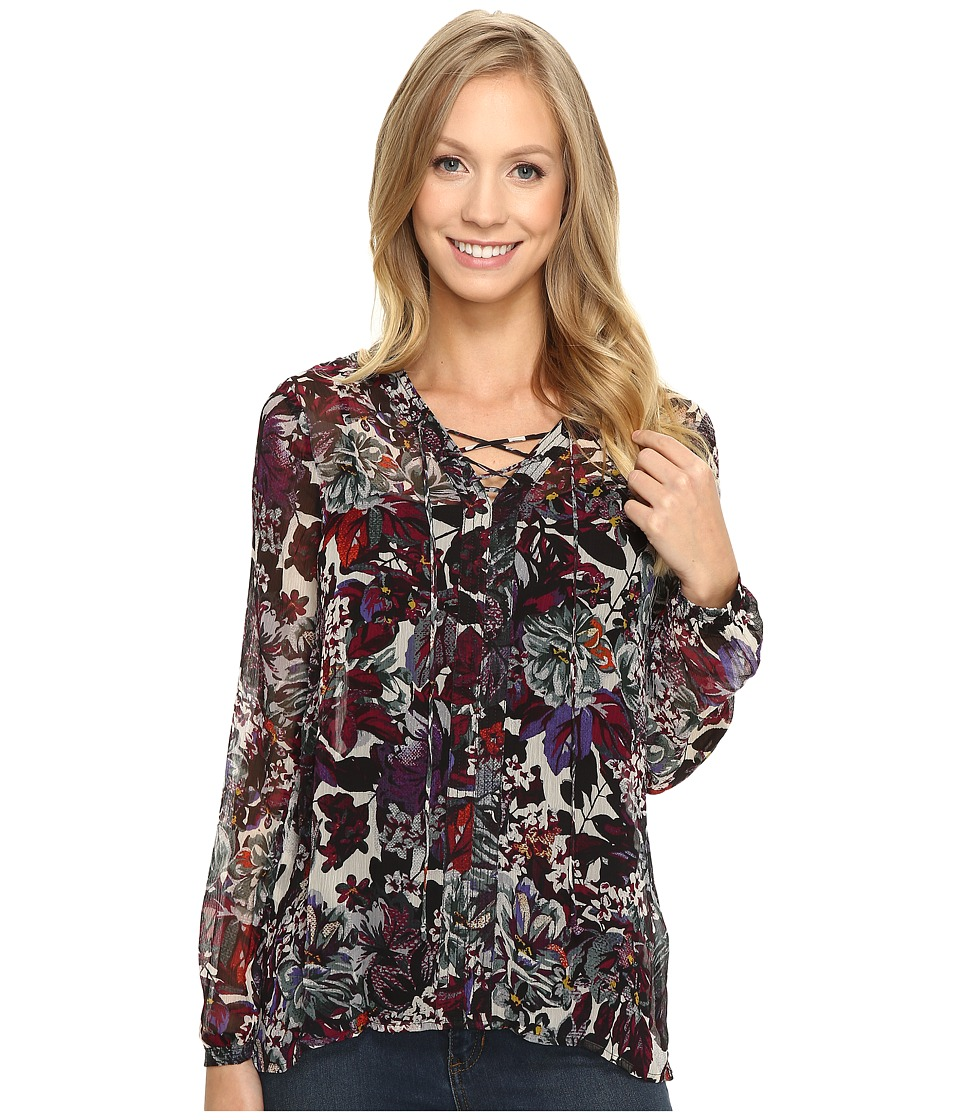 Lucky Brand - Floral Peasant Top (Black Multi) Women
