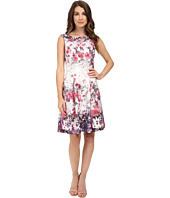 Adrianna Papell - Floral Print Bateau Neck Fit and Flare Dress