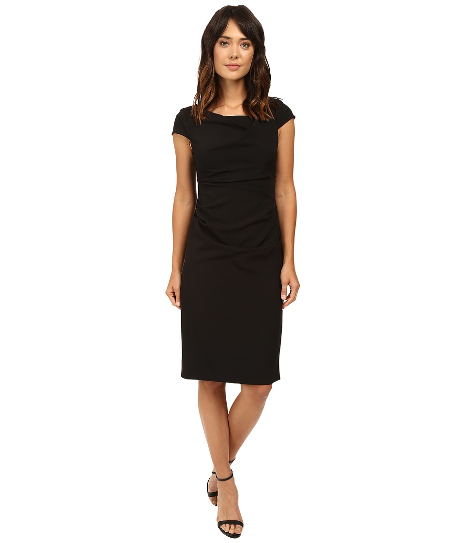 Adrianna Papell - Cowl Side Rusched Sheath Dress (Black) Womens Dress