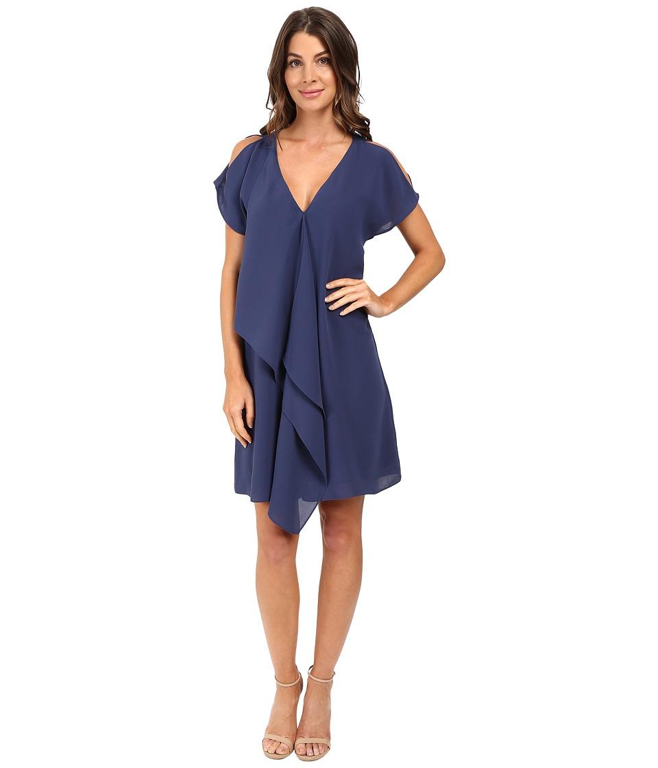 Adrianna Papell Cold Shoulder Asymmetrical Draped Dress (Dusk/Navy) Women