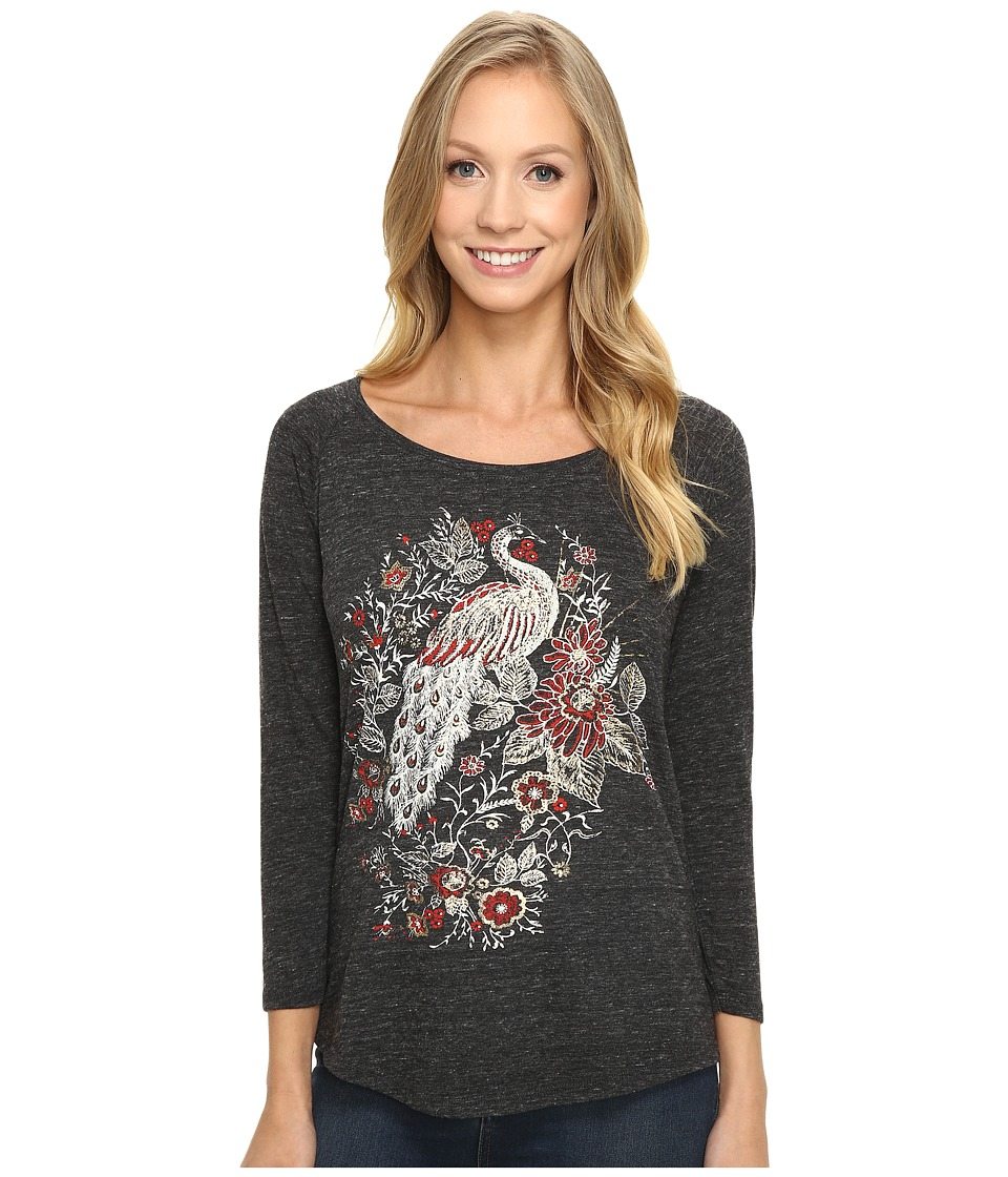 Lucky Brand - Peacock Metallic Graphic Tee (Jet Black) Women