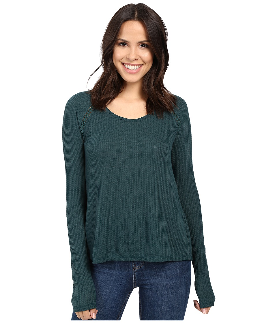 Lucky Brand - Lace Mixed Thermal Top (Sea Moss) Womens Clothing