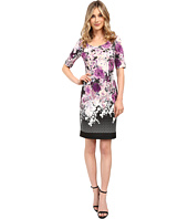 Adrianna Papell - Floral and Geo Printed Scuba Sheath Dress w/ Sleeve
