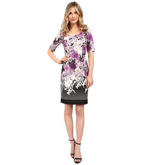 ... Floral and Geo Printed Scuba Sheath Dress w/ Sleeve - Purple Multi