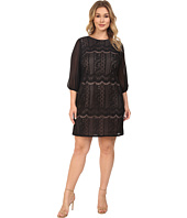 Adrianna Papell - Plus Size Striped Lace Shift Dress w/ Sleeve