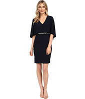 Adrianna Papell - Wide Band Matte Jersey Capelet Sheath Dress
