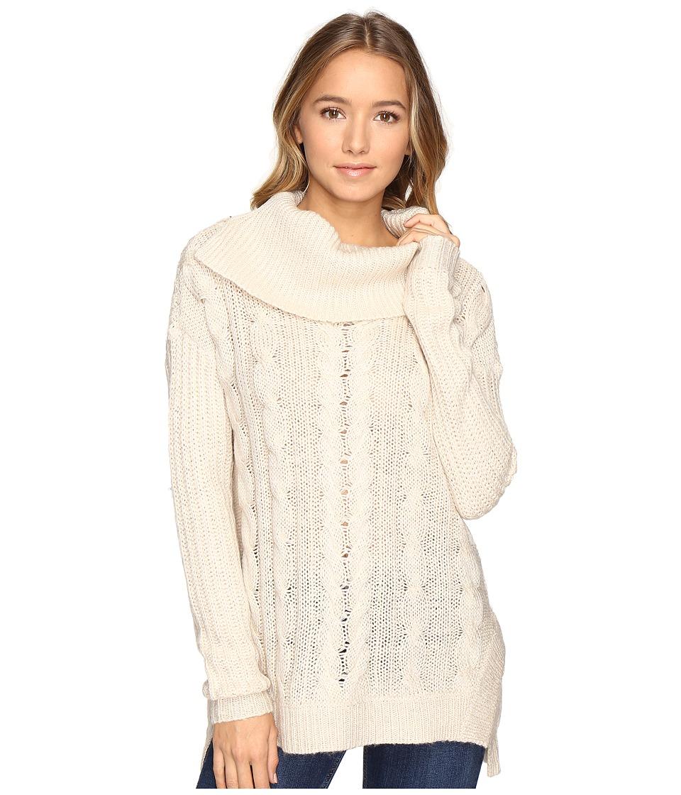 Brigitte Bailey Aislyn Cable Knit Cowl Neck Sweater (Oatmeal) Women