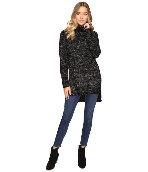 Brigitte Bailey Cameo Turtleneck Sweater with Side Slits - Black