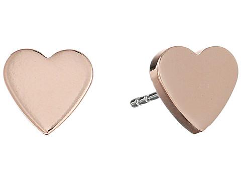 Fossil Heart Studs Earrings - Rose Gold