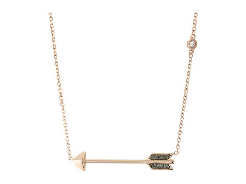 Fossil Arrow Necklace - Rose Gold/Black
