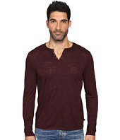 John Varvatos Star U.S.A. - Long Sleeve Eyelet Knit Henley w/ Vertical Pickstitch Details K2077S3B