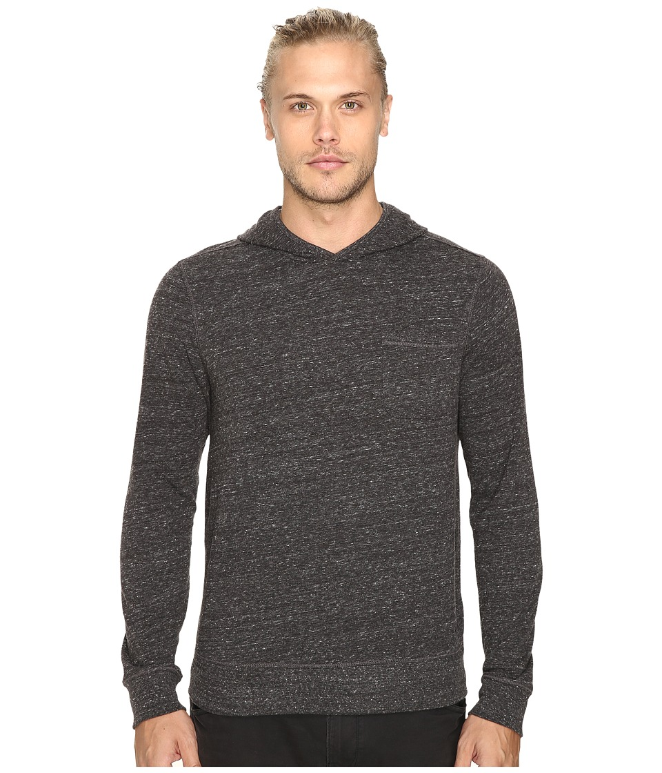 John Varvatos Star U.S.A. - Long Sleeve Pullover Knit Hoodie w/ Chest Pocket and Flatlocked Seam Details K2761S3B (Coal) Men