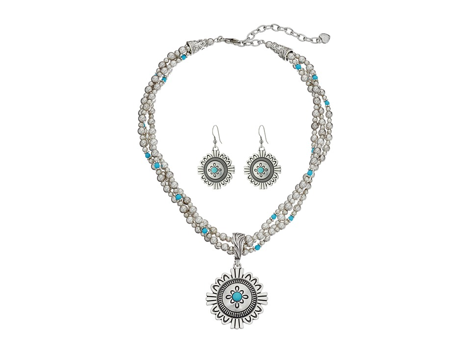MampF Western 3 Strand Medallion Necklace/Earrings Set Silver Jewelry Sets